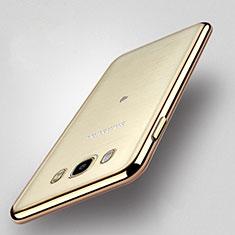 Samsung Galaxy J5 Duos (2016)用ハイブリットバンパーケース クリア透明 プラスチック サムスン ゴールド