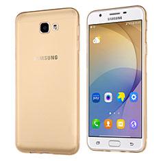 Samsung Galaxy J5 Prime G570F用極薄ソフトケース シリコンケース 耐衝撃 全面保護 クリア透明 サムスン ゴールド