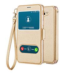 Samsung Galaxy J5 Prime G570F用手帳型 レザーケース スタンド L02 サムスン ゴールド