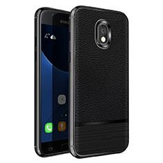 Samsung Galaxy J5 Pro (2017) J530Y用シリコンケース ソフトタッチラバー レザー柄 サムスン ブラック