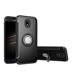 Samsung Galaxy J5 Pro (2017) J530Y用ハイブリットバンパーケース プラスチック アンド指輪 兼シリコーン サムスン ブラック