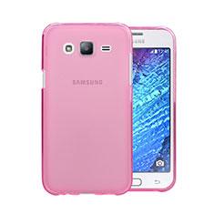 Samsung Galaxy J5 SM-J500F用極薄ソフトケース シリコンケース 耐衝撃 全面保護 クリア透明 サムスン ピンク
