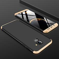 Samsung Galaxy J6 (2018) J600F用ハードケース プラスチック 質感もマット 前面と背面 360度 フルカバー サムスン ゴールド・ブラック