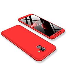 Samsung Galaxy J6 (2018) J600F用ハードケース プラスチック 質感もマット 前面と背面 360度 フルカバー サムスン レッド