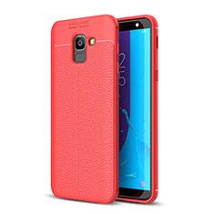 Samsung Galaxy J6 (2018) J600F用シリコンケース ソフトタッチラバー レザー柄 サムスン レッド