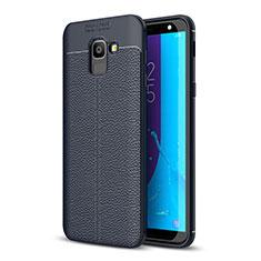 Samsung Galaxy J6 (2018) J600F用シリコンケース ソフトタッチラバー レザー柄 サムスン ネイビー