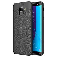 Samsung Galaxy J6 (2018) J600F用シリコンケース ソフトタッチラバー レザー柄 サムスン ブラック