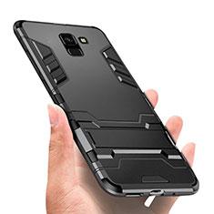 Samsung Galaxy J6 (2018) J600F用ハイブリットバンパーケース スタンド プラスチック 兼シリコーン W01 サムスン ブラック