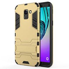 Samsung Galaxy J6 (2018) J600F用ハイブリットバンパーケース スタンド プラスチック 兼シリコーン サムスン ゴールド