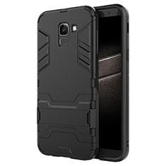 Samsung Galaxy J6 (2018) J600F用ハイブリットバンパーケース スタンド プラスチック 兼シリコーン サムスン ブラック