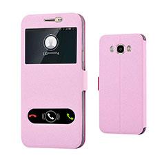 Samsung Galaxy J7 (2016) J710F J710FN用手帳型 レザーケース スタンド カバー サムスン ピンク