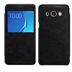 Samsung Galaxy J7 (2016) J710F J710FN用手帳型 レザーケース スタンド カバー S01 サムスン ブラック