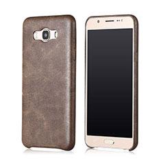 Samsung Galaxy J7 (2016) J710F J710FN用ケース 高級感 手触り良いレザー柄 サムスン ブラウン