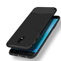 Samsung Galaxy J7 (2017) Duos J730F用シリコンケース ソフトタッチラバー ツイル サムスン ブラック