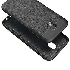 Samsung Galaxy J7 (2017) Duos J730F用シリコンケース ソフトタッチラバー レザー柄 Q01 サムスン ブラック
