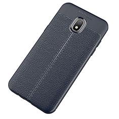 Samsung Galaxy J7 (2018) J737用シリコンケース ソフトタッチラバー レザー柄 サムスン ネイビー