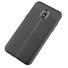 Samsung Galaxy J7 (2018) J737用シリコンケース ソフトタッチラバー レザー柄 サムスン ブラック