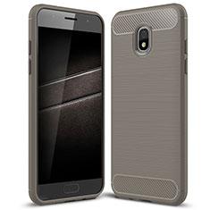 Samsung Galaxy J7 (2018) J737用シリコンケース ソフトタッチラバー ツイル カバー サムスン グレー