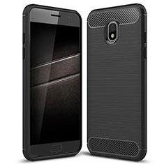 Samsung Galaxy J7 (2018) J737用シリコンケース ソフトタッチラバー ツイル カバー サムスン ブラック