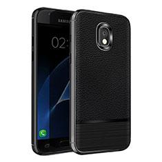 Samsung Galaxy J7 (2018) J737用シリコンケース ソフトタッチラバー レザー柄 Q01 サムスン ブラック