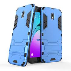 Samsung Galaxy J7 (2018) J737用ハイブリットバンパーケース スタンド プラスチック 兼シリコーン サムスン ネイビー