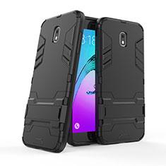 Samsung Galaxy J7 (2018) J737用ハイブリットバンパーケース スタンド プラスチック 兼シリコーン サムスン ブラック