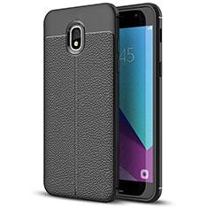 Samsung Galaxy J7 (2018) J737用シリコンケース ソフトタッチラバー レザー柄 W01 サムスン ブラック