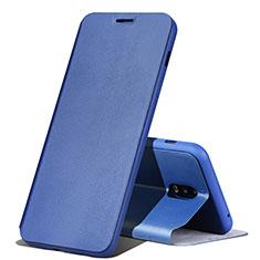 Samsung Galaxy J7 Plus用手帳型 レザーケース スタンド カバー サムスン ネイビー