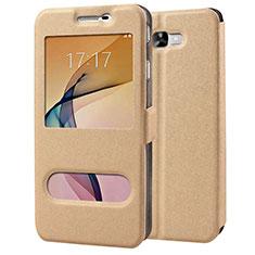 Samsung Galaxy J7 Prime用手帳型 レザーケース スタンド サムスン ゴールド