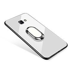 Samsung Galaxy J7 Prime用ハイブリットバンパーケース プラスチック 鏡面 カバー アンド指輪 サムスン ホワイト