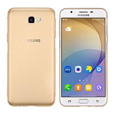 Samsung Galaxy J7 Prime用極薄ソフトケース シリコンケース 耐衝撃 全面保護 クリア透明 T02 サムスン ゴールド