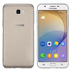 Samsung Galaxy J7 Prime用極薄ソフトケース シリコンケース 耐衝撃 全面保護 クリア透明 T02 サムスン グレー