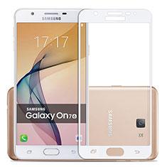 Samsung Galaxy J7 Prime用強化ガラス フル液晶保護フィルム サムスン ホワイト
