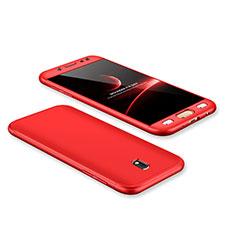 Samsung Galaxy J7 Pro用ハードケース プラスチック 質感もマット 前面と背面 360度 フルカバー サムスン レッド