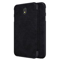 Samsung Galaxy J7 Pro用手帳型 レザーケース スタンド サムスン ブラック