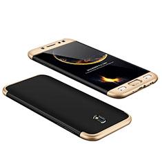 Samsung Galaxy J7 Pro用ハードケース プラスチック 質感もマット 前面と背面 360度 フルカバー サムスン ゴールド・ブラック