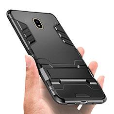 Samsung Galaxy J7 Pro用ハイブリットバンパーケース スタンド プラスチック 兼シリコーン サムスン ブラック