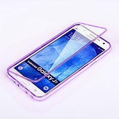 Samsung Galaxy J7 SM-J700F J700H用ソフトケース フルカバー クリア透明 サムスン パープル