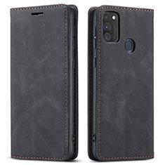 Samsung Galaxy M21用手帳型 レザーケース スタンド カバー サムスン ブラック