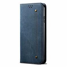 Samsung Galaxy M21s用手帳型 布 スタンド サムスン ネイビー