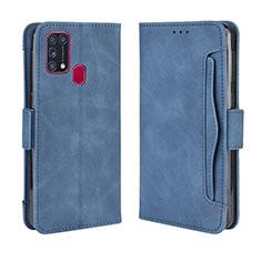 Samsung Galaxy M21s用手帳型 レザーケース スタンド カバー L10 サムスン ネイビー