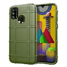 Samsung Galaxy M21s用360度 フルカバー極薄ソフトケース シリコンケース 耐衝撃 全面保護 バンパー S01 サムスン グリーン