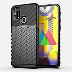 Samsung Galaxy M21s用シリコンケース ソフトタッチラバー ツイル カバー サムスン ブラック