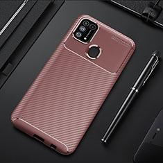 Samsung Galaxy M21s用シリコンケース ソフトタッチラバー ツイル カバー T01 サムスン ブラウン