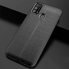 Samsung Galaxy M21s用シリコンケース ソフトタッチラバー レザー柄 カバー サムスン ブラック