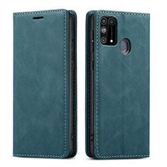 Samsung Galaxy M21s用手帳型 レザーケース スタンド カバー L15 サムスン グリーン