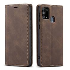 Samsung Galaxy M21s用手帳型 レザーケース スタンド カバー L15 サムスン ブラウン