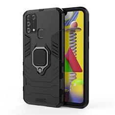 Samsung Galaxy M21s用ハイブリットバンパーケース プラスチック アンド指輪 マグネット式 サムスン ブラック