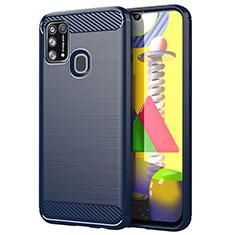 Samsung Galaxy M21s用シリコンケース ソフトタッチラバー ライン カバー サムスン ネイビー