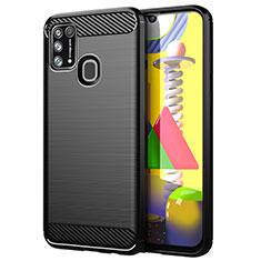 Samsung Galaxy M21s用シリコンケース ソフトタッチラバー ライン カバー サムスン ブラック